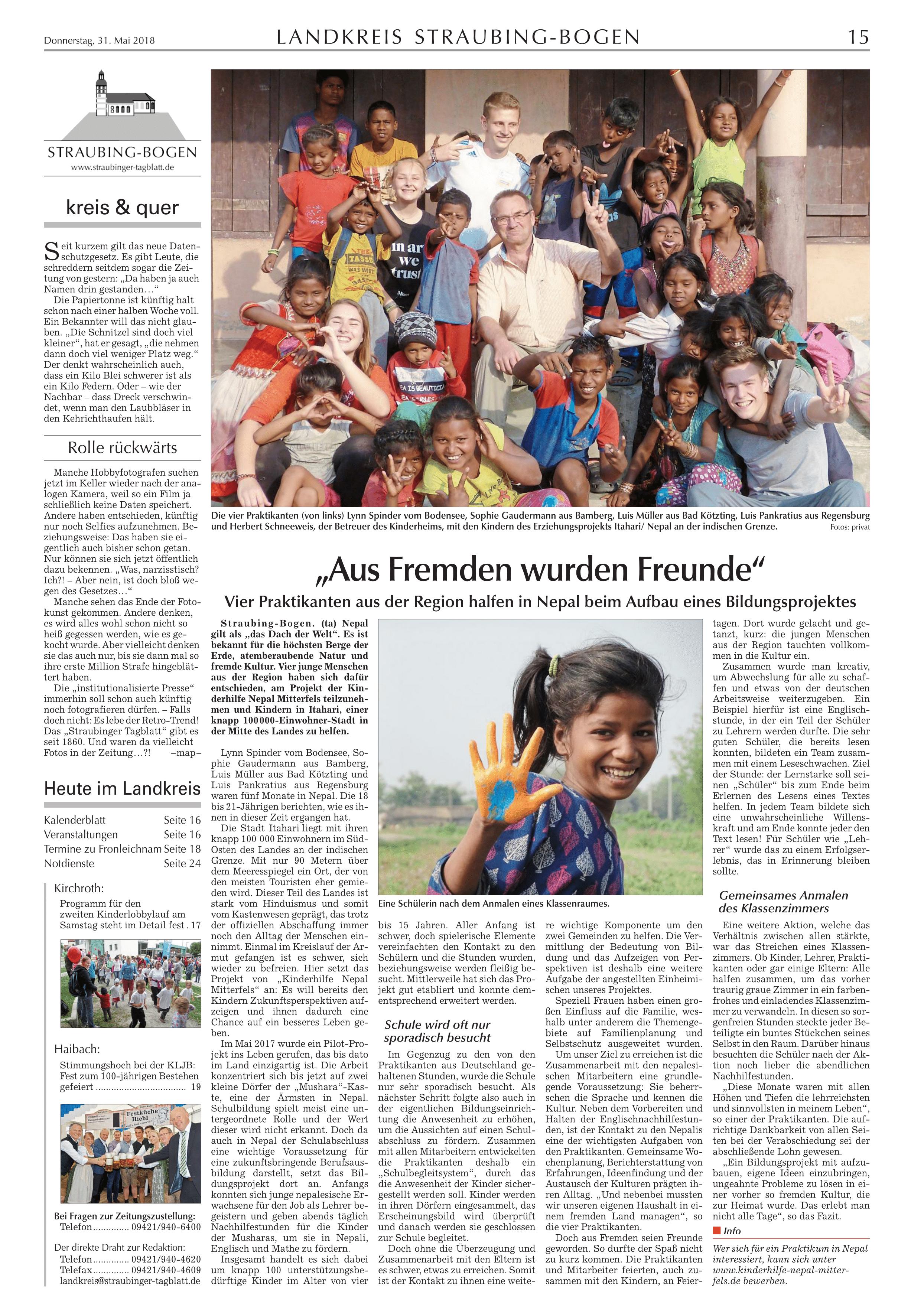 Zeitungsbericht zum Bildungsprojekt Itahari vom 31. Mai 2018 ...