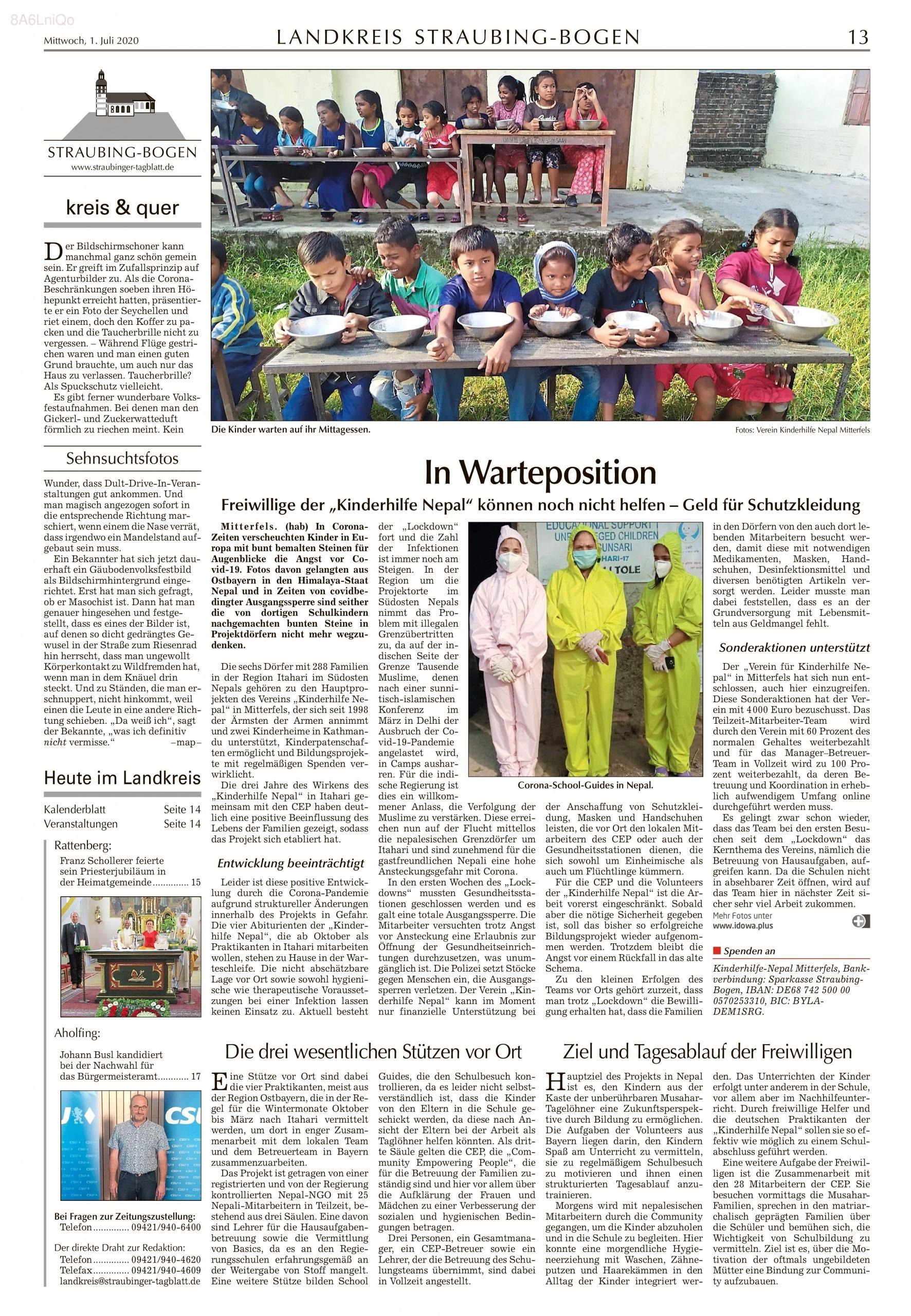 Zeitungsartikel vom 01.07.2020 im Straubinger Tagblatt