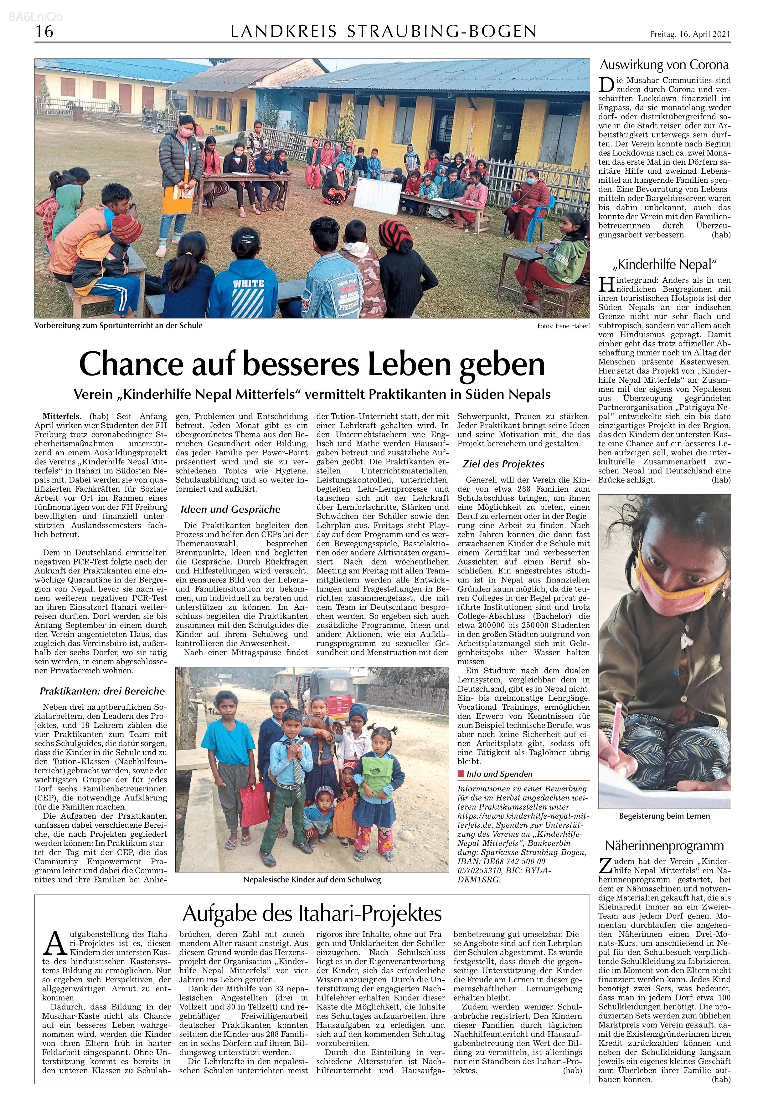 Dieses Bild zeigt den Zeitungsartikel vom 21.04.21